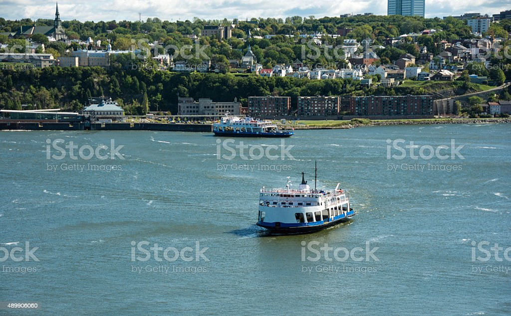 The ferry from Levis to Quebec City- St. Lawrence River stock photo