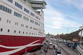 The ferry Viking Line is moored at the mooring in