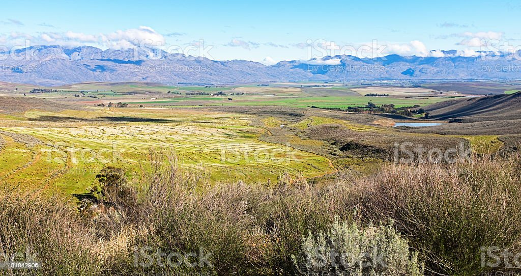 The fertile Ceres valley, Western Cape, with mountains beyond stock photo