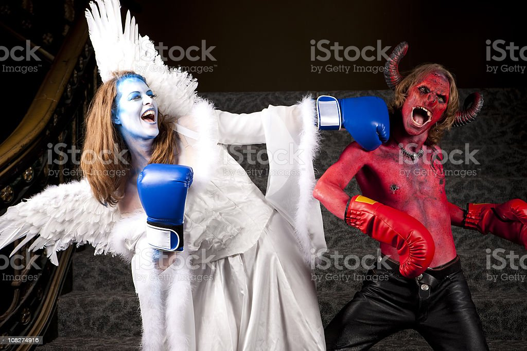 The Fight Between Good and Evil stock photo