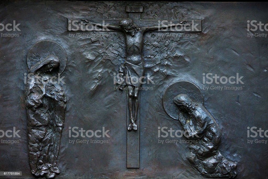 the figure of Christ and Women stock photo