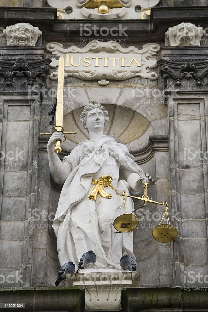 the figure of Justice on Delft's Town Hall stock photo