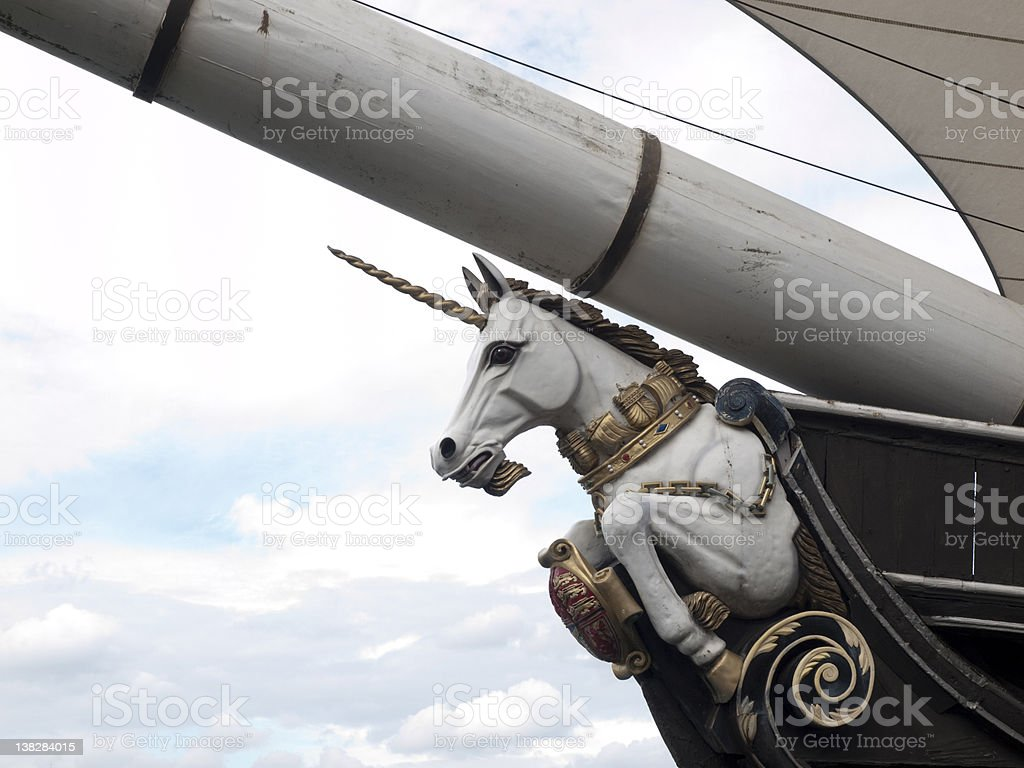 The Figurehead of HM Frigate Unicorn stock photo