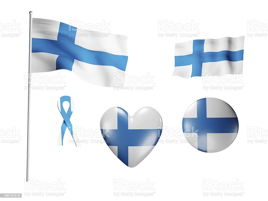 The Finland flag - set of icons and flags royalty-free stock photo