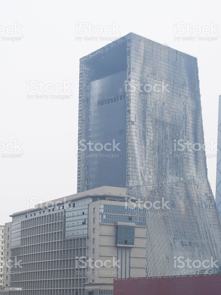 The fire damaged tower stock photo