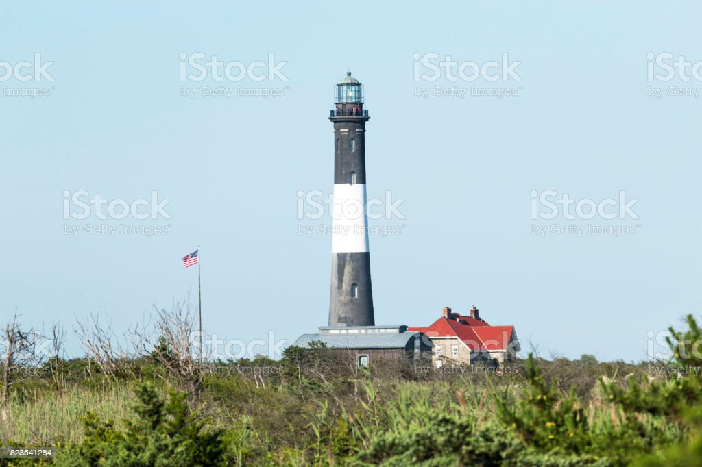 The Fire Island Lighthouse in the sunshine stock photo