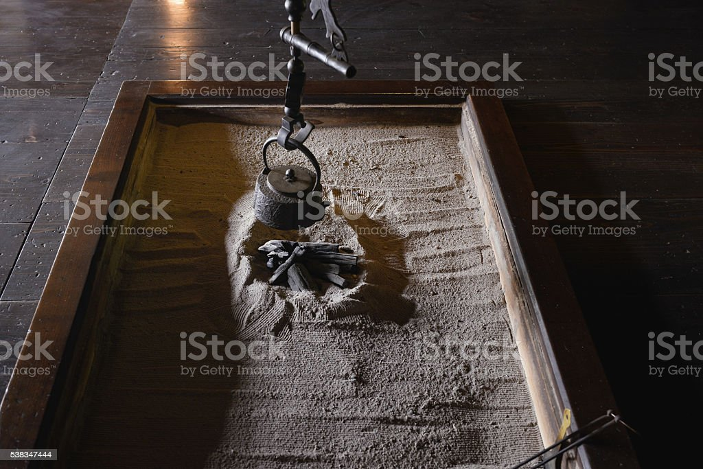 The fireplace of the Japanese old house stock photo