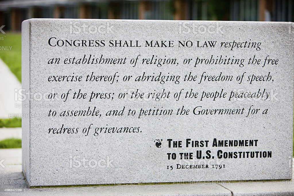 The First Amendment to U.S. Constitution, Philadelphia royalty-free stock photo