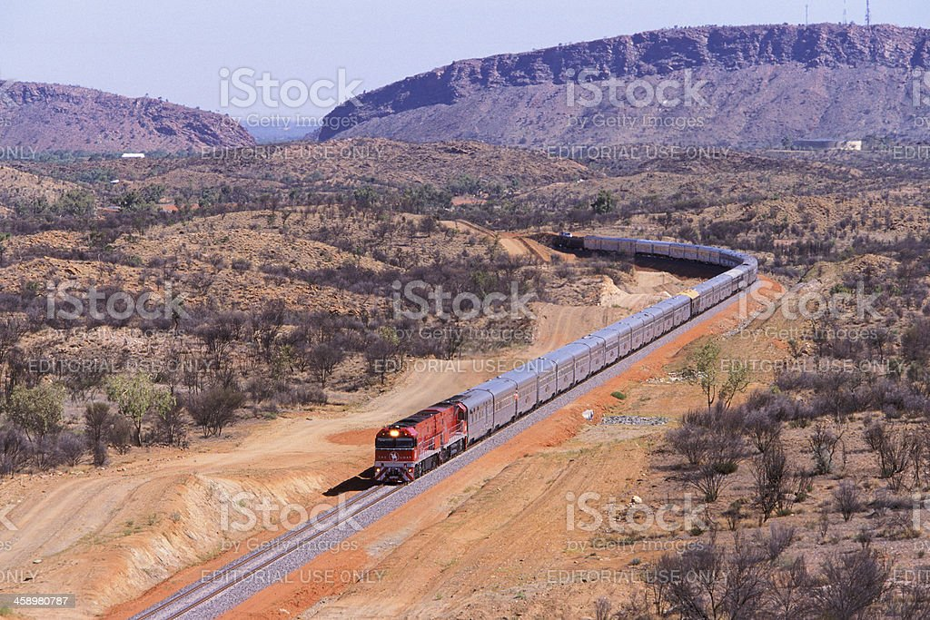The First Ghan train to Darwin departs Alice Springs stock photo