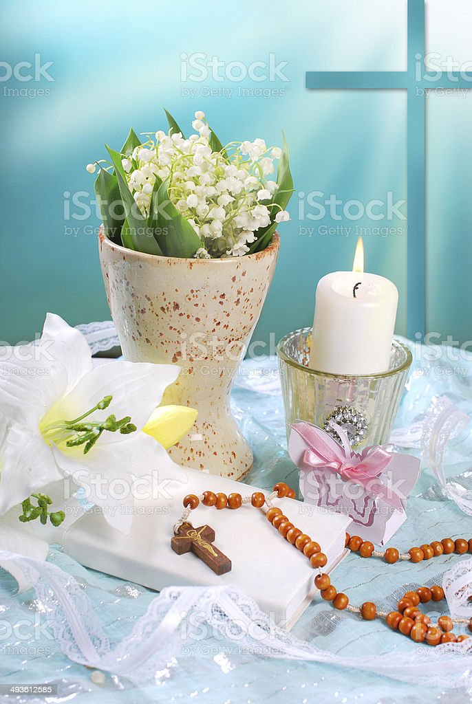 the first holy communion still life royalty-free stock photo