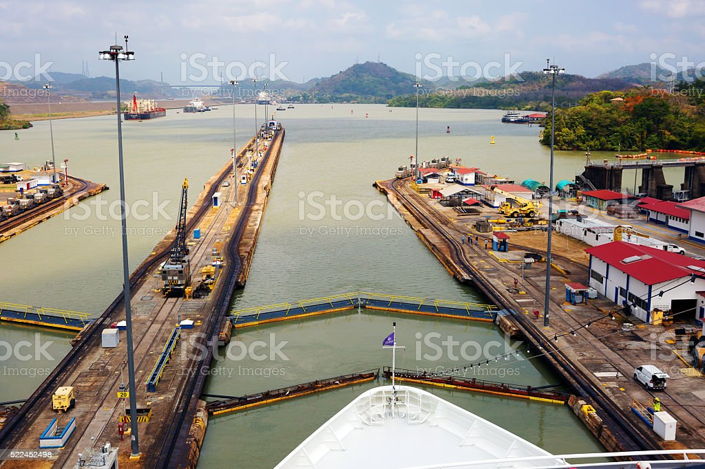 The first lock of the Panama canal from the Pacific ocean stock photo