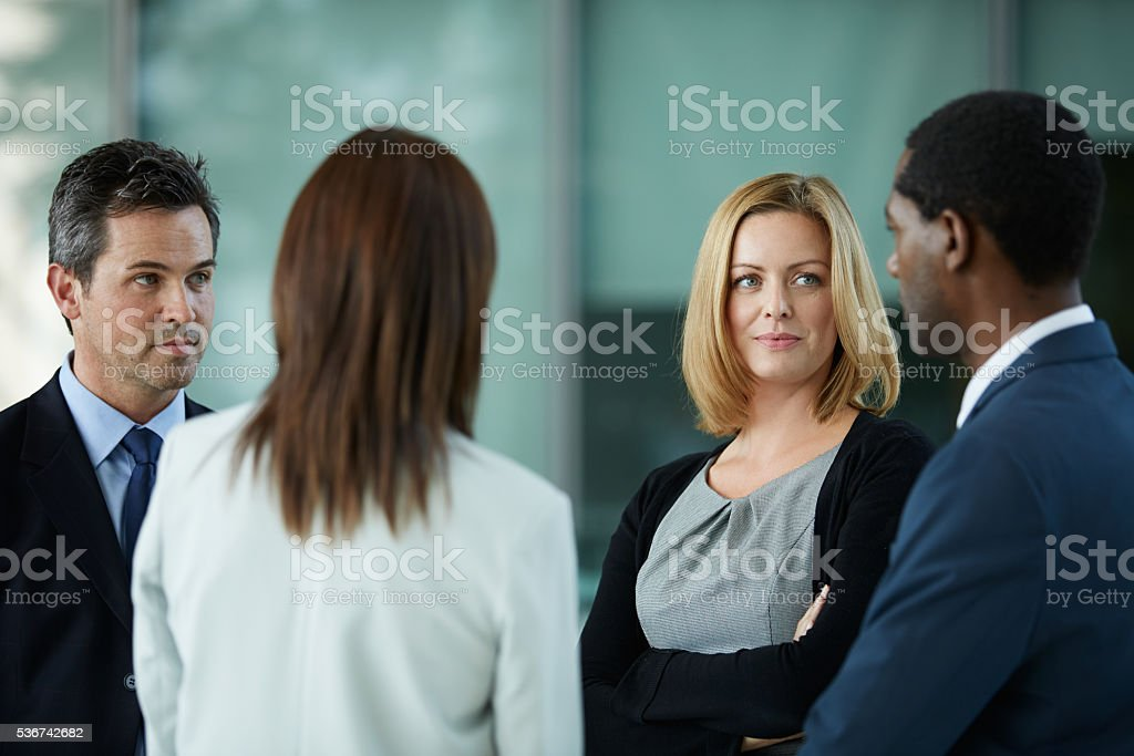 The first meeting of the business day stock photo