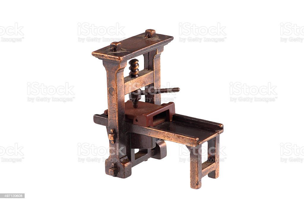 The first printing press of Gutenberg-cut out stock photo