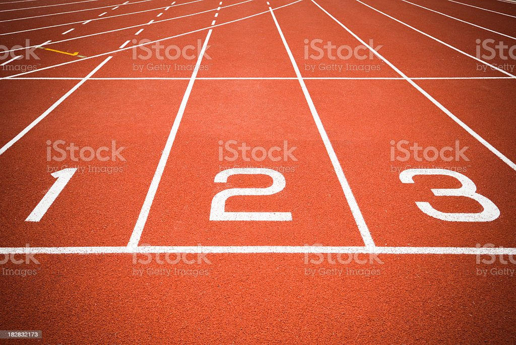 The first three startup lines for track stock photo