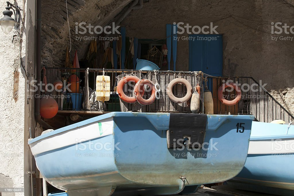 The Fishing Boats in Cinque Terre royalty-free stock photo