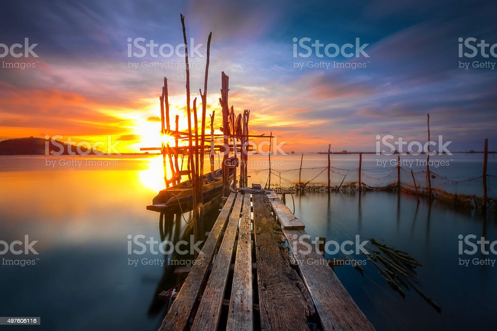 The fishing boats parked on water. stock photo