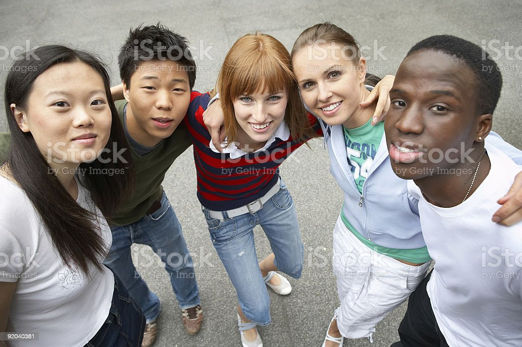 the five pack - multicultural friends royalty-free stock photo