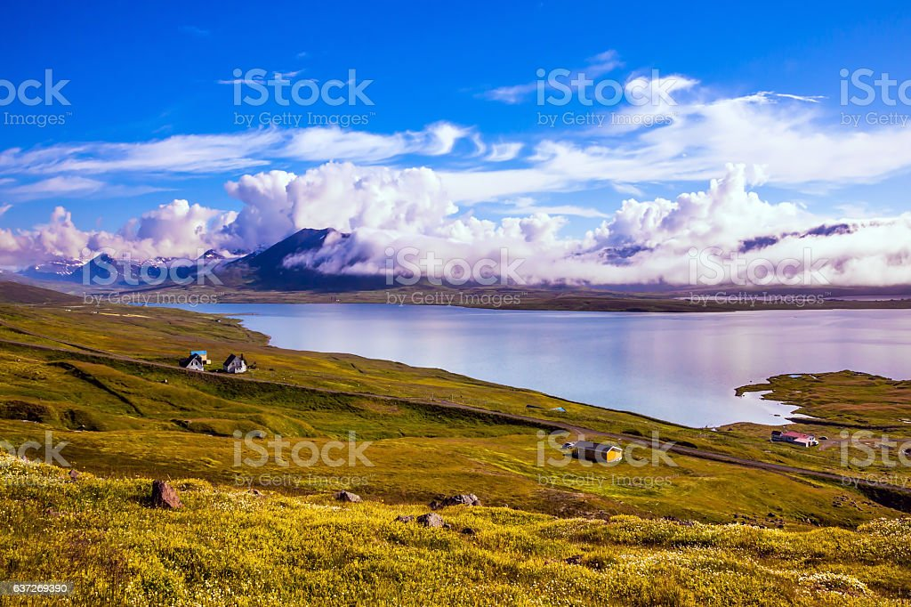 The fjord in Iceland stock photo