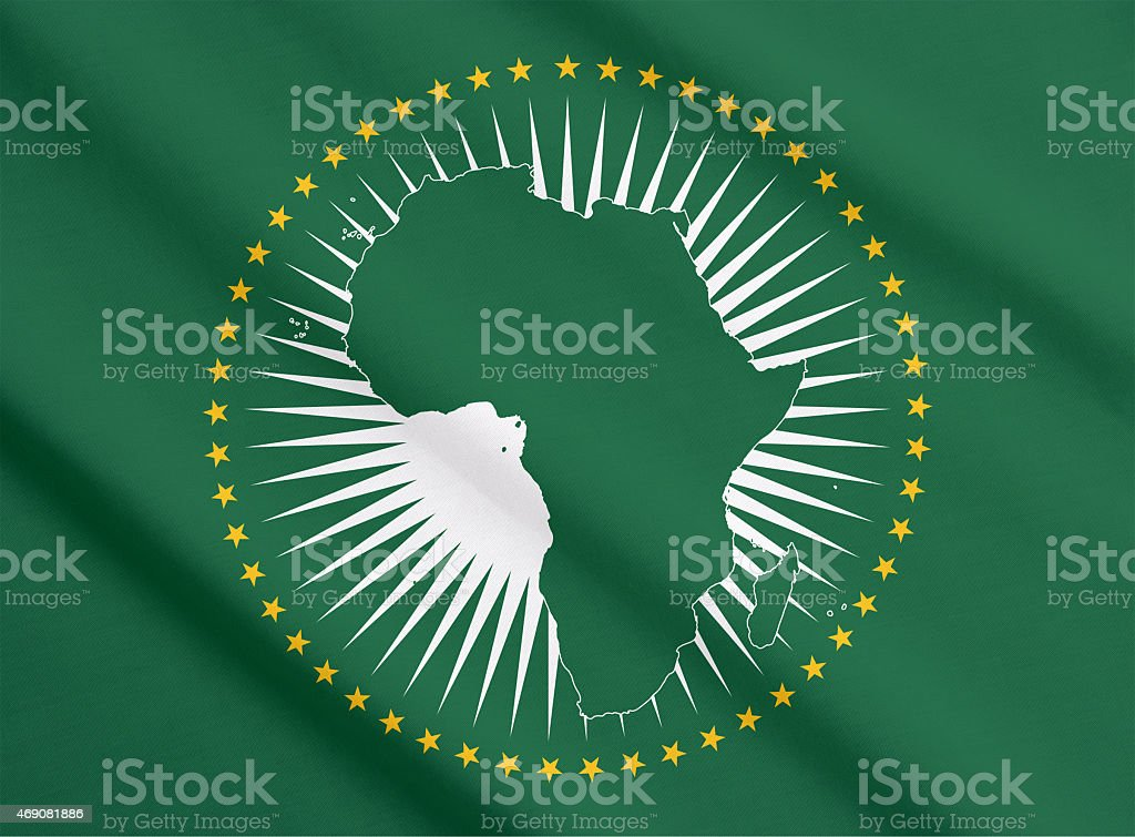 The flag of African Union waving stock photo