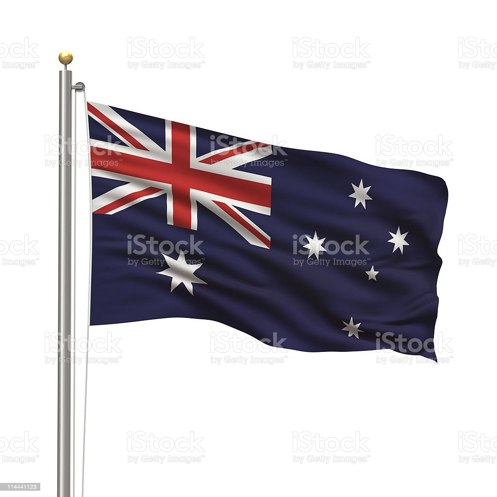 The flag of Australia waving in the air stock photo