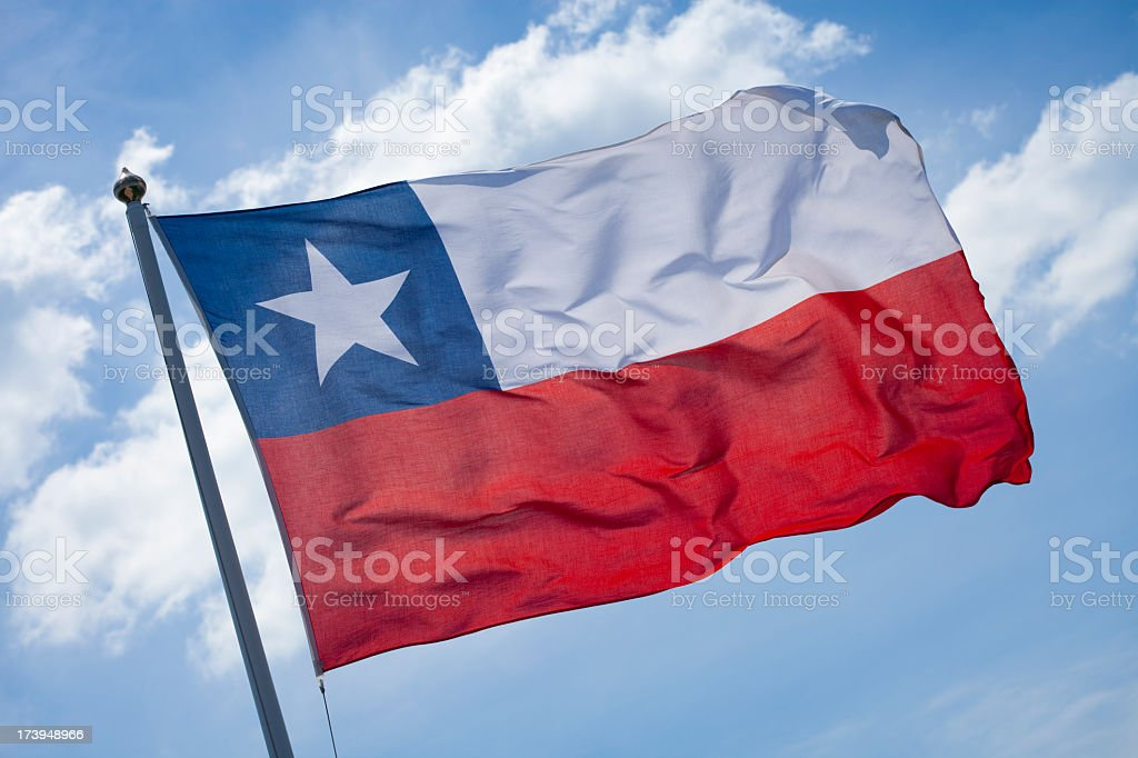 The flag of Chile blowing in the wind stock photo
