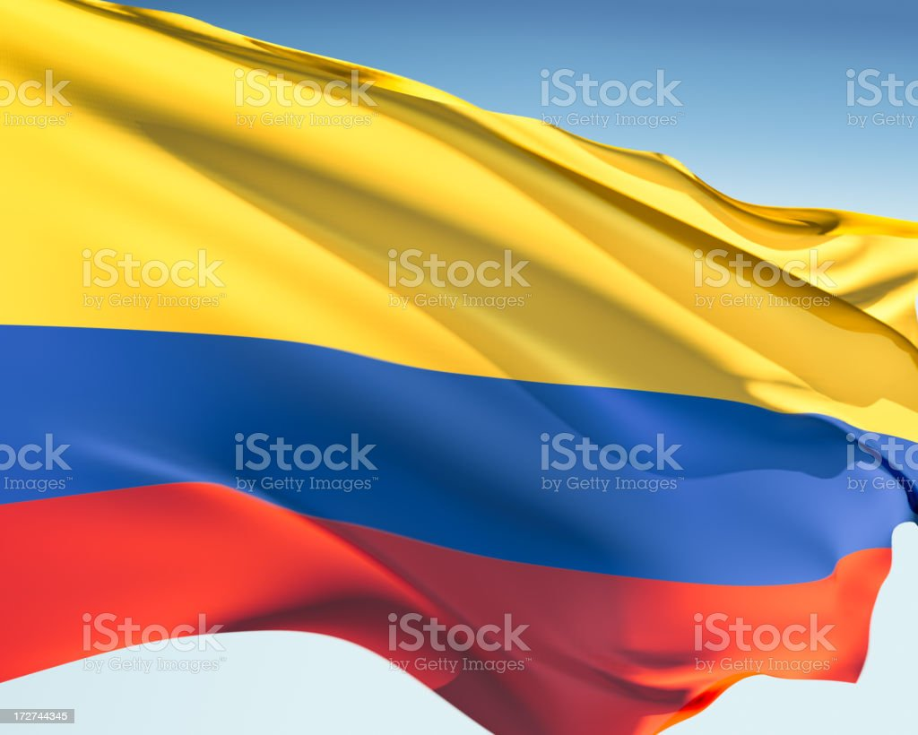 The flag of Colombia in the wind stock photo