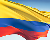 The flag of Colombia in the wind