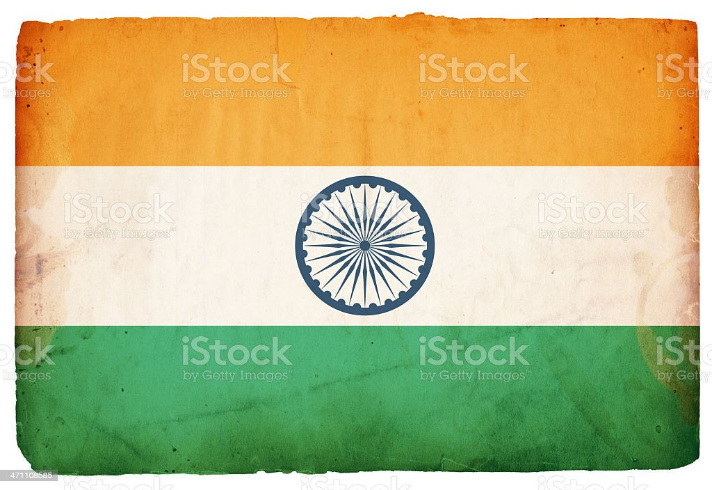 The flag of India with a grunge overlay royalty-free stock photo
