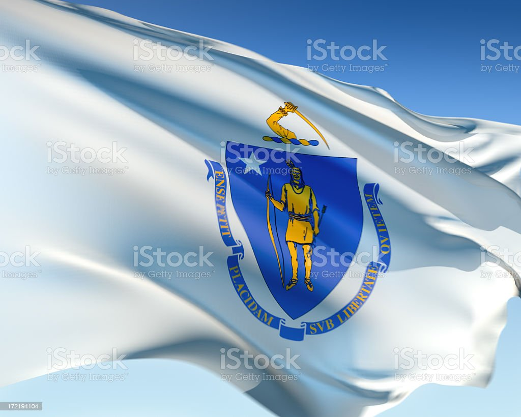 The flag of Massachusetts blowing in the wind stock photo