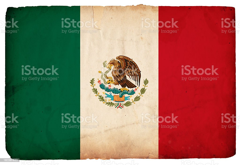 The flag of Mexico on a white background royalty-free stock photo