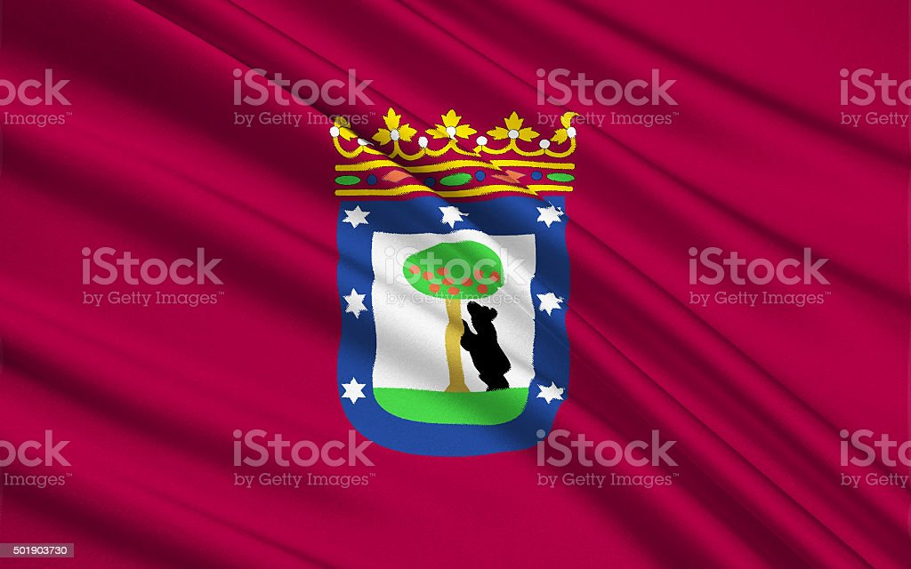 The flag of the Madrid, Spain stock photo