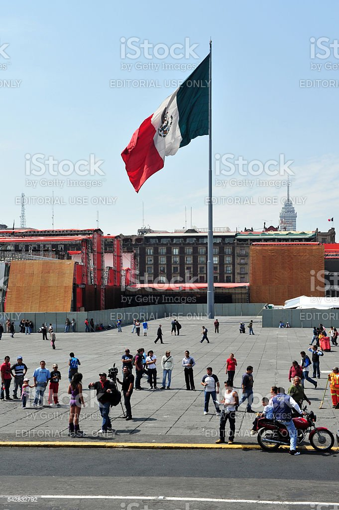 The flag of United Mexican States in Mexico City stock photo