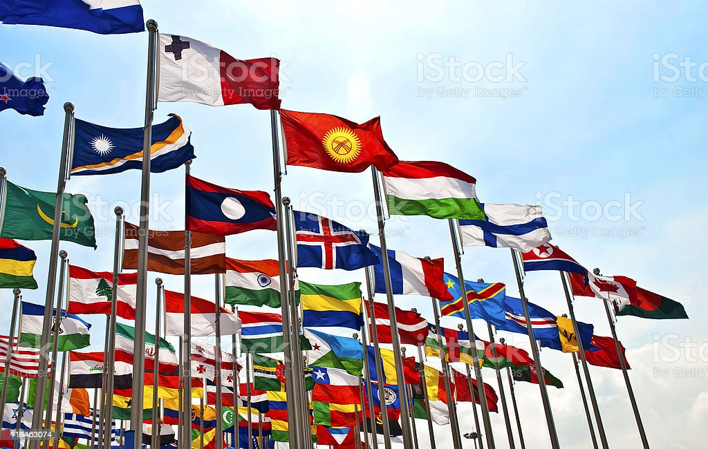 The flags of each country royalty-free stock photo
