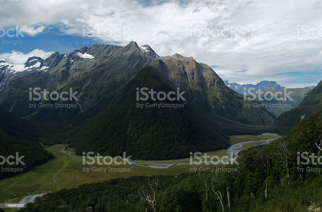 the flat on routeburn trail in new zealand stock photo