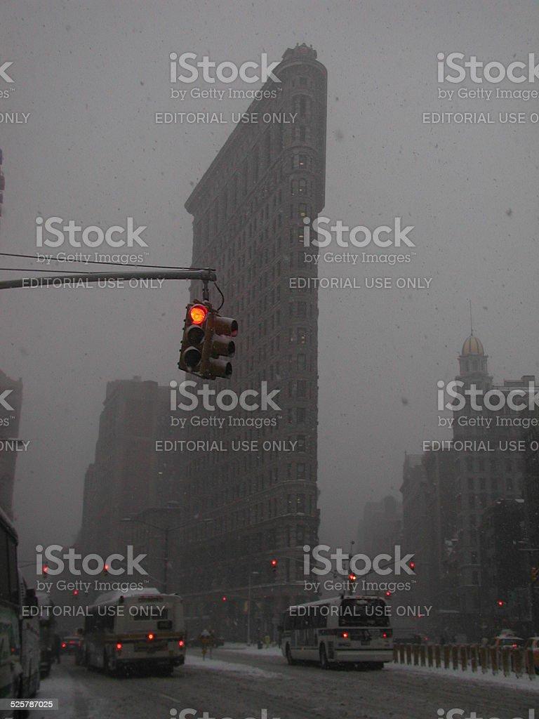 The Flatiron Building New York City Snowstorm 2002 stock photo