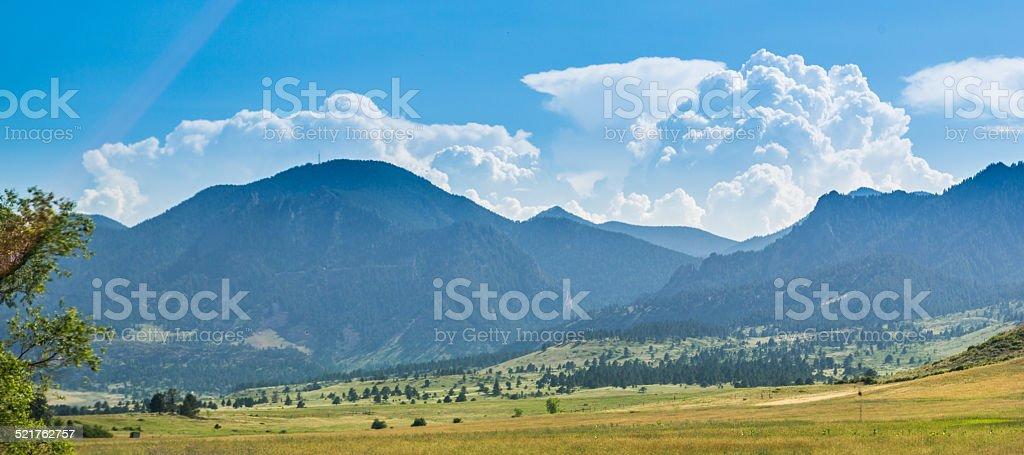 The Flatirons at Boulder, Colorado stock photo