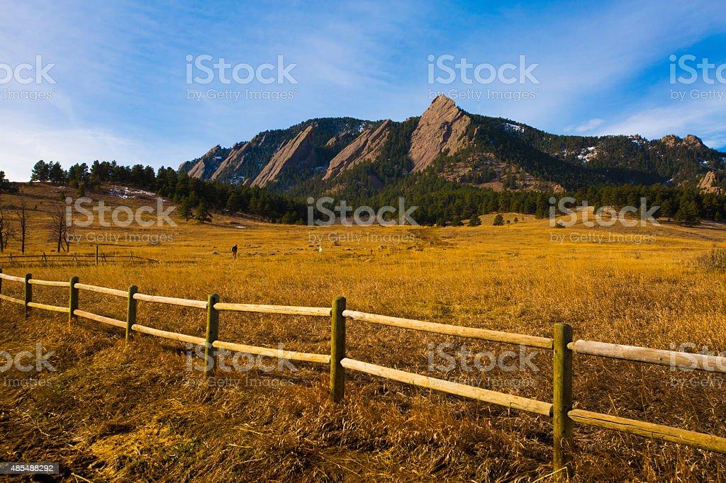 The Flatirons in Boulder, Colorado stock photo