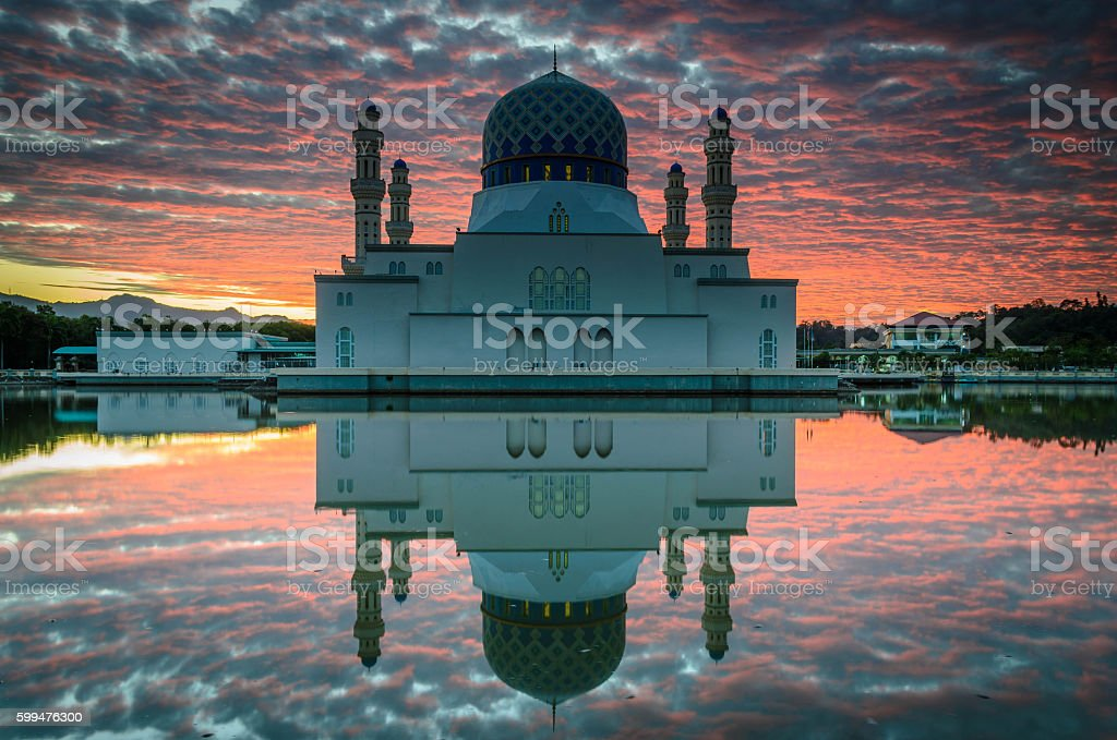 The floating Kota Kinabalu City Mosque stock photo