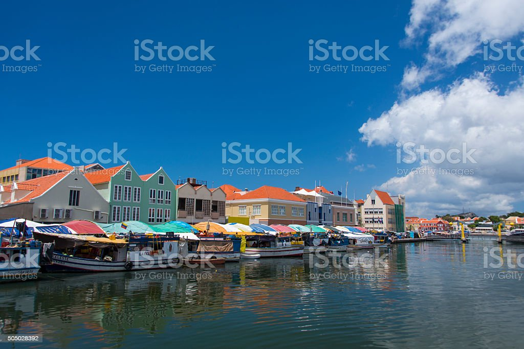 The floating market of Curacao stock photo