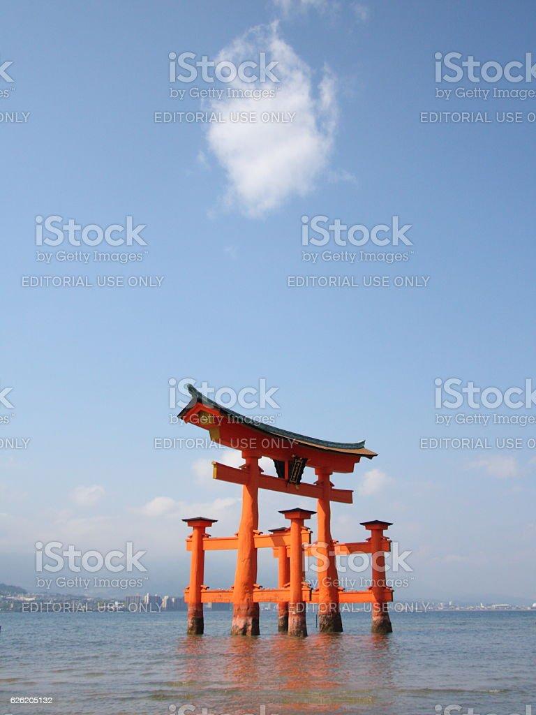 The floating torii gate of Itsukushima Shrine, Japan stock photo
