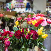 The florist dressed in  Farmers Market in Funchal, Portugal