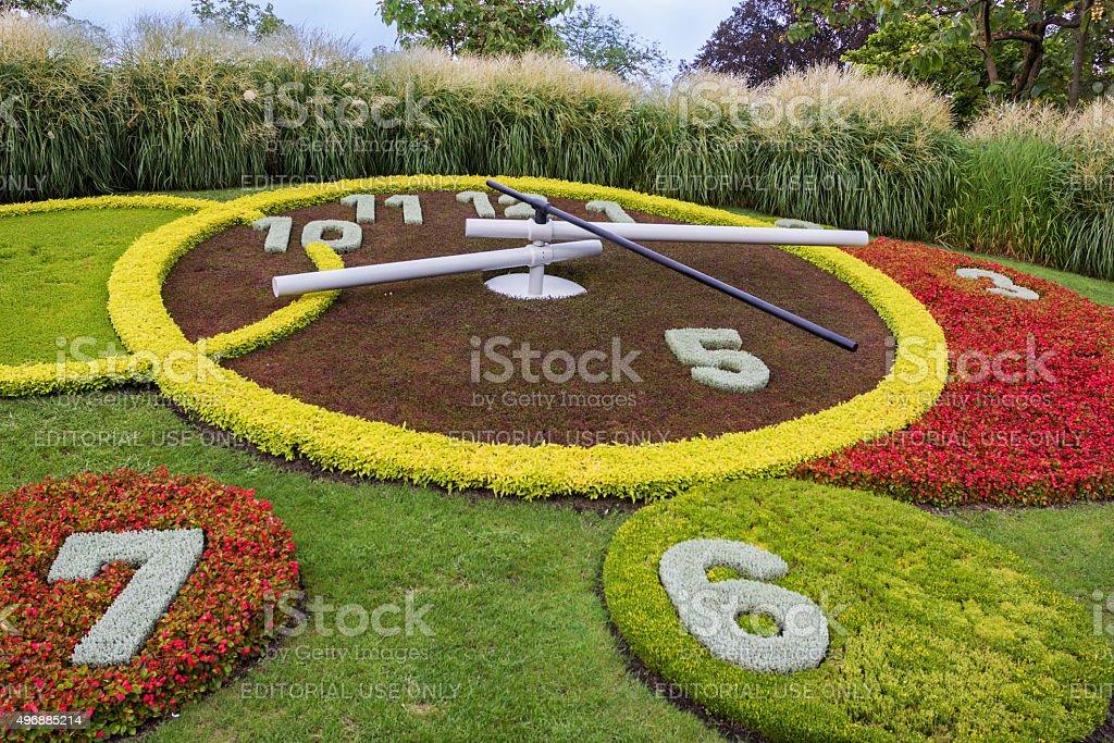 The Flower Clock in the park in Geneva in Switzerland stock photo