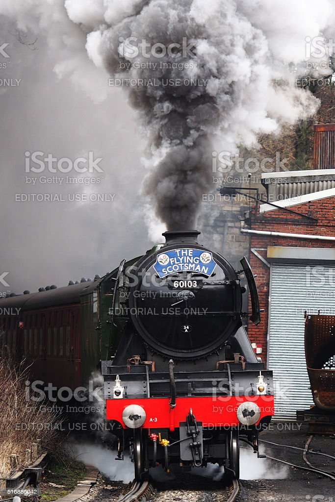 The 'Flying Scotsman' pulling a passenger train at Grosmont, England stock photo