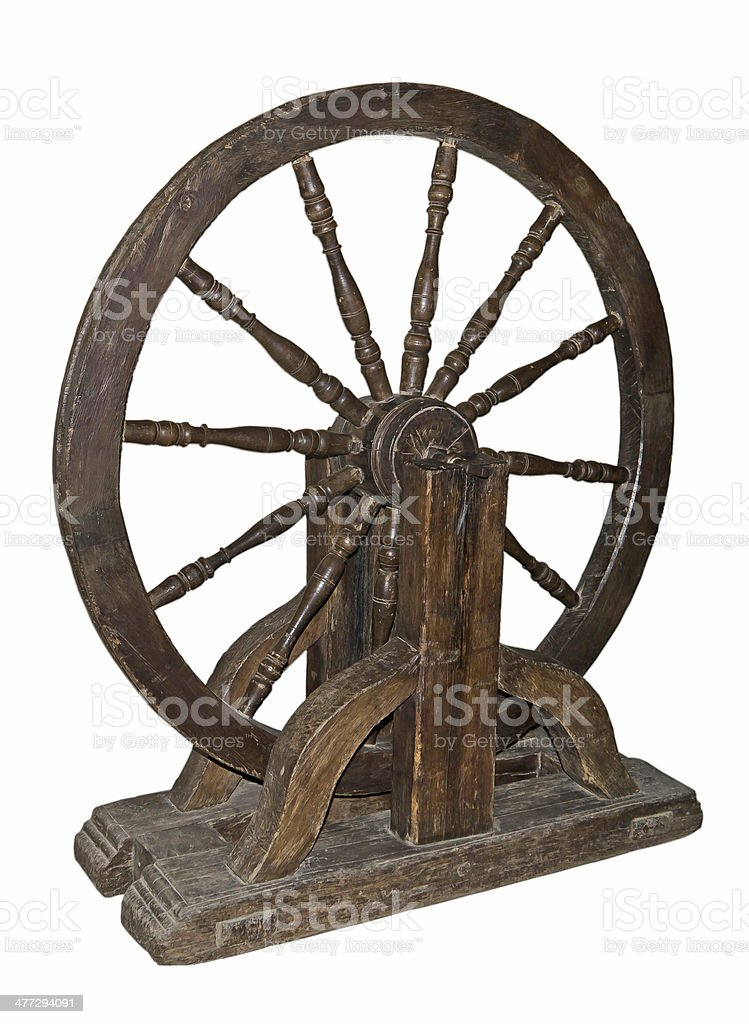 The fly-wheel of a turning lathe.17 centuries stock photo