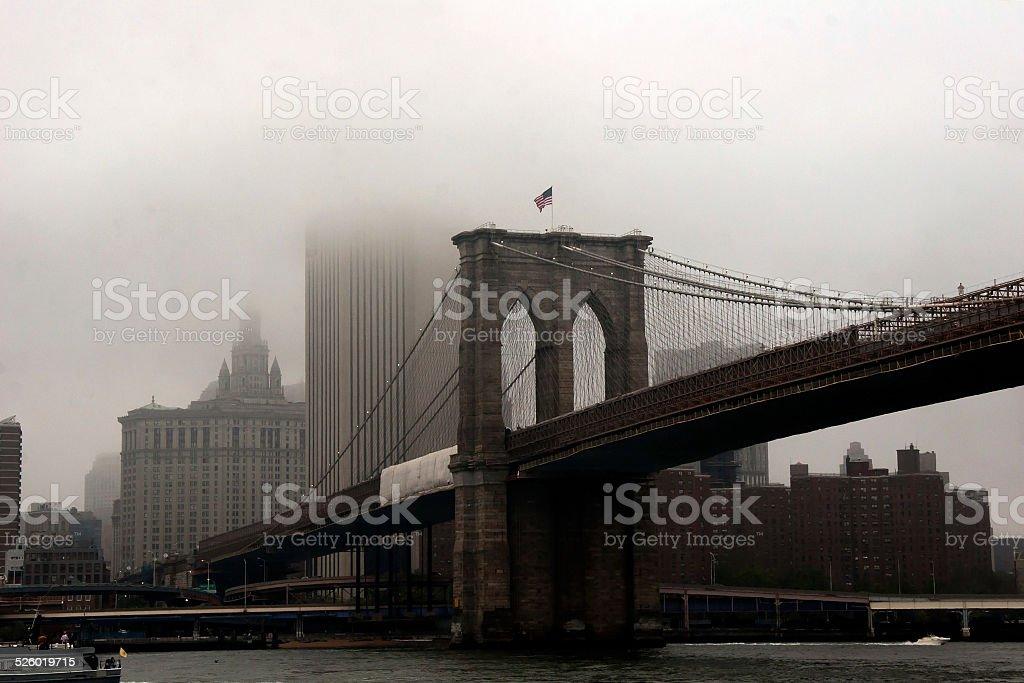 The Fog Behind the Brooklyn Bridge stock photo