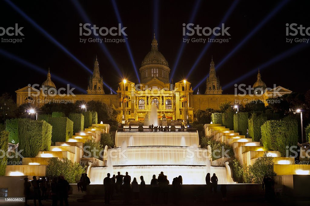 The Font M?gica or Magic fountain show, Barcelona stock photo