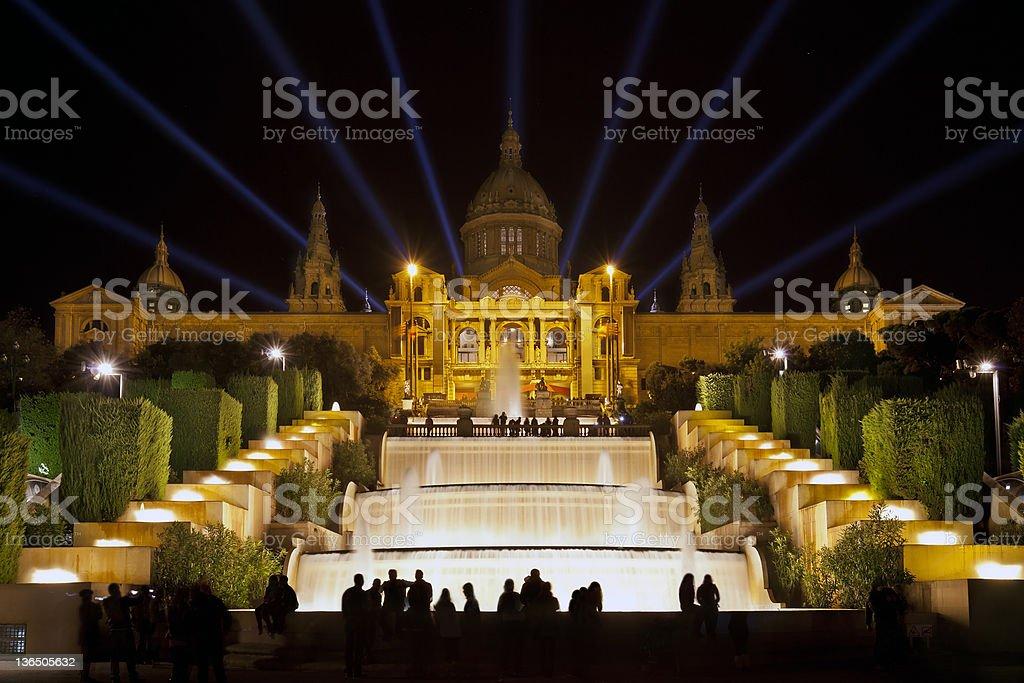 The Font M?gica or Magic fountain show, Barcelona stock photo