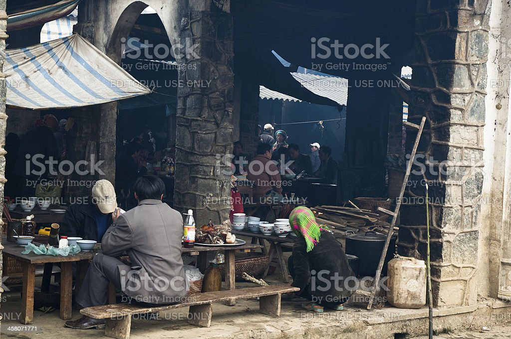 The Food Hall At Bac Ha Market In Vietnam royalty-free stock photo