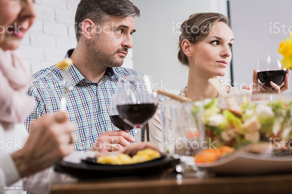 The food is a good excuse to get to know the views stock photo