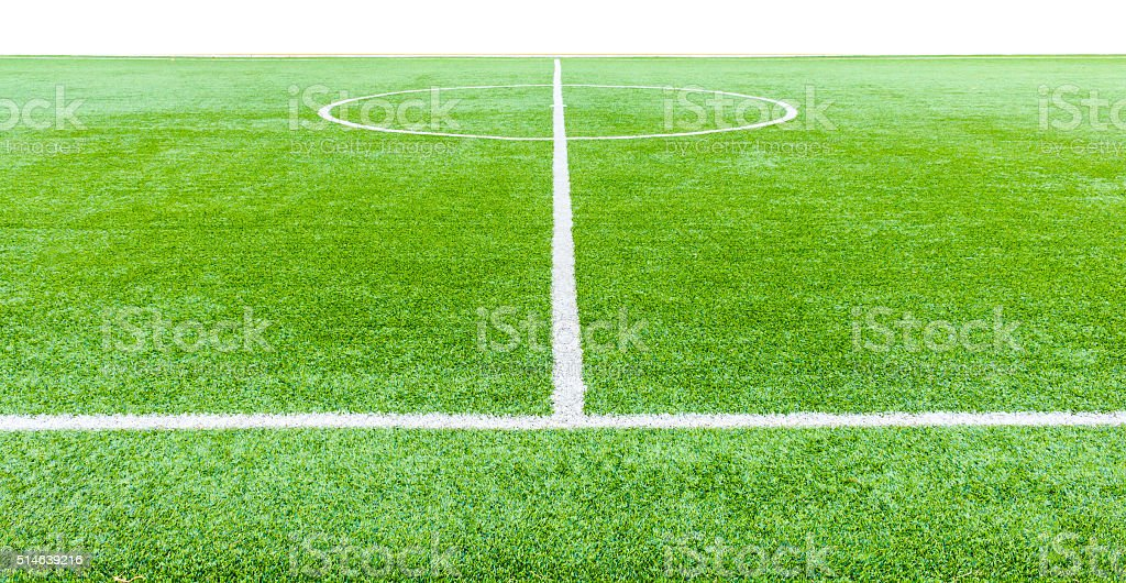 The football field line with artificial grass stock photo